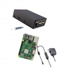Raspberry Pi 3 Model B Plus Basic starter kit with aluminum alloy Pi cooling box [2018 Model]