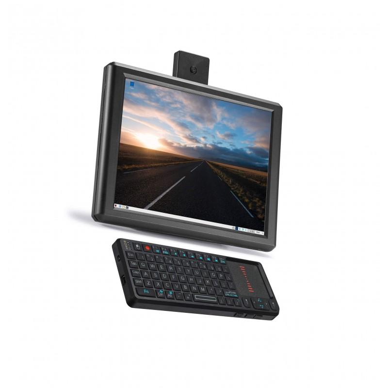 A Raspberry Pi 4 desktop with an 8-inch screen and mini keyboard/trackpad
