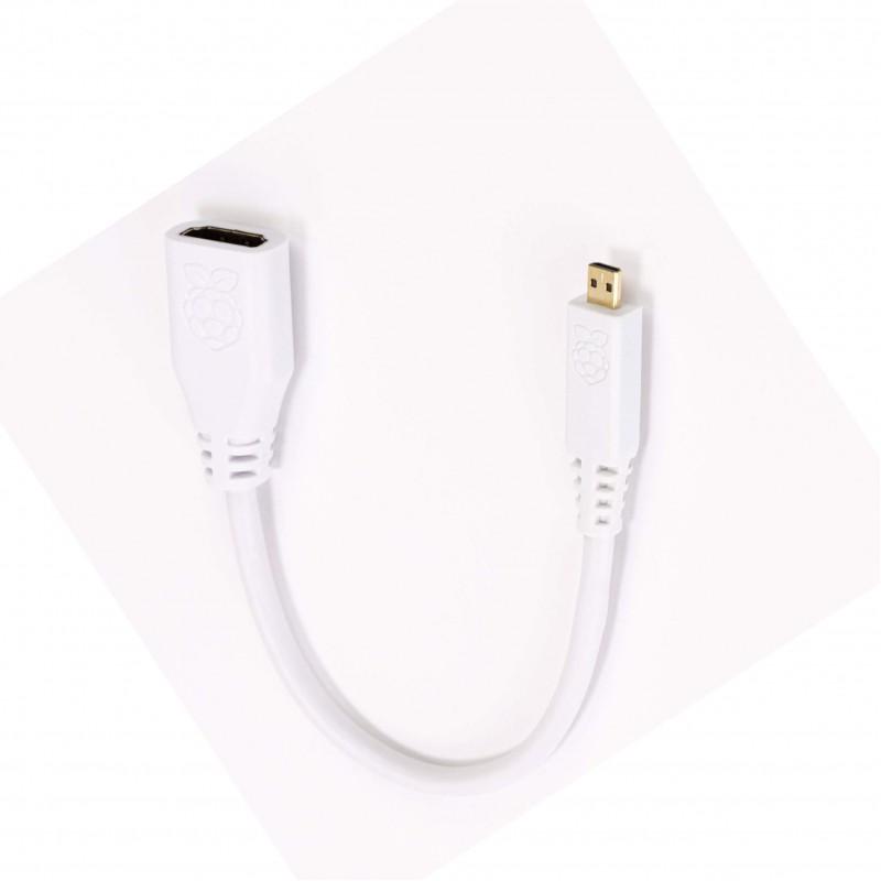 Raspberry Pi 4 235mm micro HDMI to standard HDMI adapter white